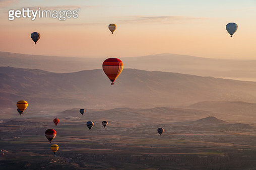 Hot Air Balloons at sunrise in Goreme, Cappadocia, Turkey - gettyimageskorea
