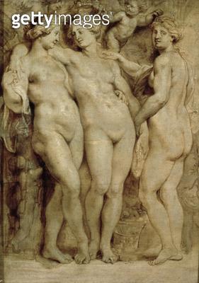 <b>Title</b> : The Three Graces (pencil on paper)<br><b>Medium</b> : <br><b>Location</b> : Palazzo Pitti, Florence, Italy<br> - gettyimageskorea