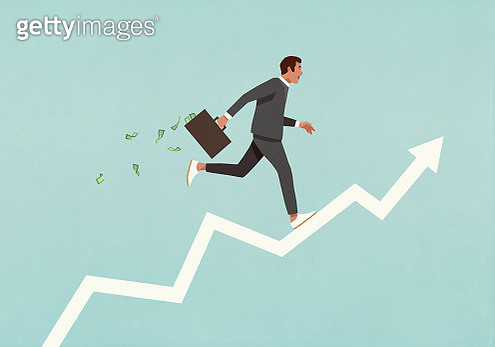 Male investor with briefcase full of money running up ascending arrow - gettyimageskorea