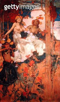 <b>Title</b> : Dancing, a design for the entrance of Maison de l'Art Nouveau, Paris, 1895 (oil on canvas)Additional Infocommissioned by M. Samu<br><b>Medium</b> : oil on canvas<br><b>Location</b> : Private Collection<br> - gettyimageskorea