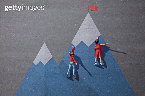 Children climbing painted imaginary mountain - gettyimageskorea