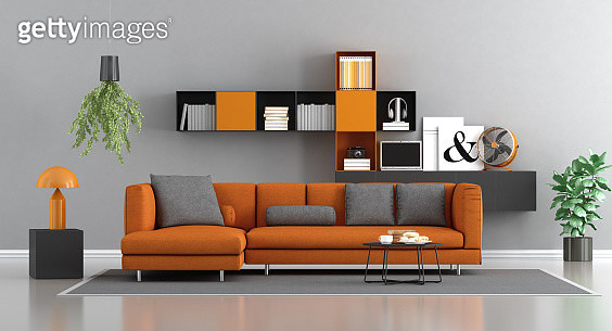 Sofa Against Wall In Living Room At Home - gettyimageskorea