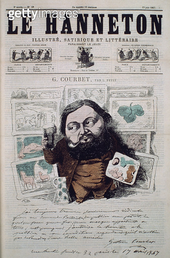 <b>Title</b> : Gustave Courbet, cover illustration from 'Le Hanneton' magazine, 13th June 1867 (colour litho)Additional InfoCourbet (1819-77);<br><b>Medium</b> : <br><b>Location</b> : Private Collection<br> - gettyimageskorea