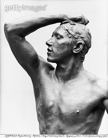 <b>Title</b> : The Age of Bronze, after 1877 (bronze) (b/w photo) (detail)Additional InfoL'Age d'Airain; Age; Airain; sitter was a young soldie<br><b>Medium</b> : bronze<br><b>Location</b> : Musee d'Orsay, Paris, France<br> - gettyimageskorea