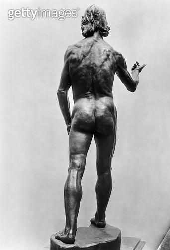 <b>Title</b> : St. John the Baptist, seen from behind, 1878-80 (see also 279787, 279788) (bronze) (b/w photo)Additional InfoSaint Jean-Baptiste<br><b>Medium</b> : bronze<br><b>Location</b> : Musee d'Orsay, Paris, France<br> - gettyimageskorea