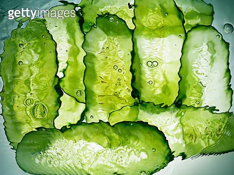 Cucumber slices under water - gettyimageskorea