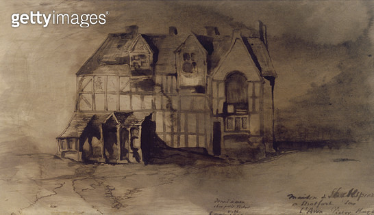 <b>Title</b> : The House of William Shakespeare (1564-1616) in Stratford-upon-Avon (pen & ink and wash on paper)Additional Infowhere the playwr<br><b>Medium</b> : pen & ink and wash on paper<br><b>Location</b> : Hauteville House, Guernsey, UK<br> - gettyimageskorea