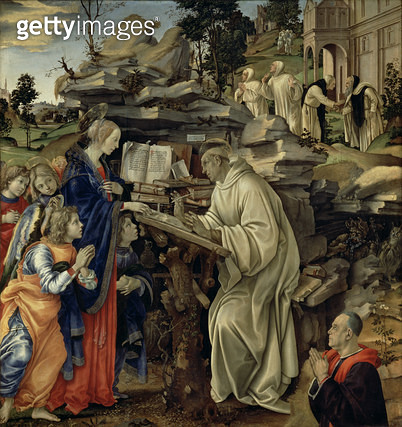 <b>Title</b> : The Vision of St. Bernard, c.1485-87 (tempera & oil on panel) (for detail see 82733)Additional InfoApparition de la Vierge a Sai<br><b>Medium</b> : tempera and oil on panel<br><b>Location</b> : Church of the Badia, Florence, Italy<br> - gettyimageskorea