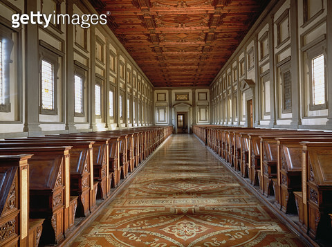 <b>Title</b> : The Reading Room of the Laurentian Library, designed by Michelangelo Buonarroti (1475-1564), 1534 (photo)<br><b>Medium</b> : <br><b>Location</b> : Biblioteca Medicea-Laurenziana, Florence, Italy<br> - gettyimageskorea