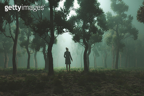 Woman lost in fantasy forest at night - gettyimageskorea