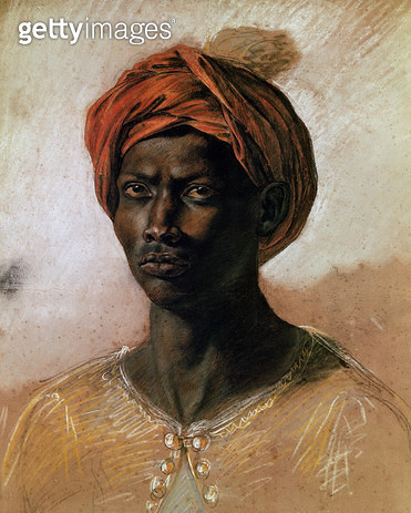 <b>Title</b> : Portrait of a Turk in a Turban, c.1826 (pastel on paper)<br><b>Medium</b> : pastel on paper<br><b>Location</b> : Louvre, Paris, France<br> - gettyimageskorea