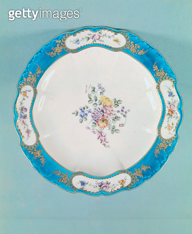 <b>Title</b> : Plate decorated with a floral pattern, Sevres (porcelain)<br><b>Medium</b> : porcelain<br><b>Location</b> : Bibliotheque des Arts Decoratifs, Paris, France<br> - gettyimageskorea
