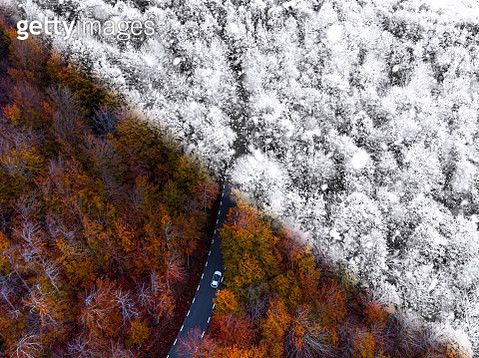 Taking the same picture but in different season of the year of the Montseny nature reserve in Catalonia. - gettyimageskorea