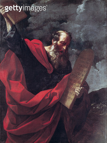 <b>Title</b> : Moses with the Tablets of the Law (oil on canvas)<br><b>Medium</b> : oil on canvas<br><b>Location</b> : Galleria Borghese, Rome, Italy<br> - gettyimageskorea