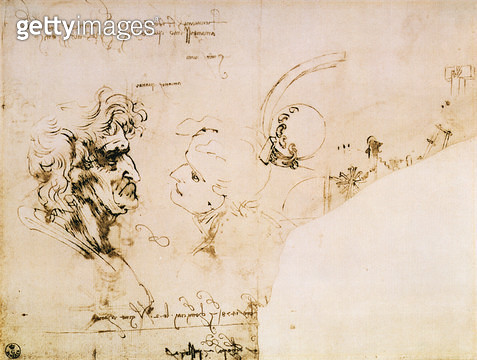 <b>Title</b> : Study of two male heads, parts of machinery and mirror writing (pen & ink)<br><b>Medium</b> : <br><b>Location</b> : Gabinetto dei Disegni e Stampe, Uffizi, Florence, Italy<br> - gettyimageskorea