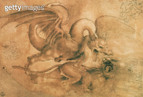 <b>Title</b> : Fight between a dragon and a lion (brown ink with wash on paper)<br><b>Medium</b> : <br><b>Location</b> : Gabinetto dei Disegni e Stampe, Uffizi, Florence, Italy<br> - gettyimageskorea