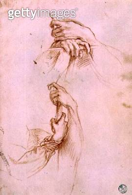 <b>Title</b> : Two studies of a young man's pair of hands (red chalk)<br><b>Medium</b> : red chalk on paper<br><b>Location</b> : Gabinetto dei Disegni e Stampe, Uffizi, Florence, Italy<br> - gettyimageskorea