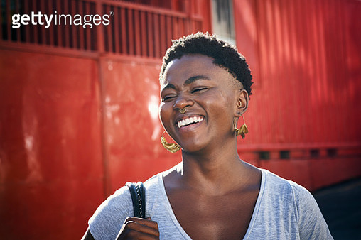 Portrait of young woman laughing - gettyimageskorea