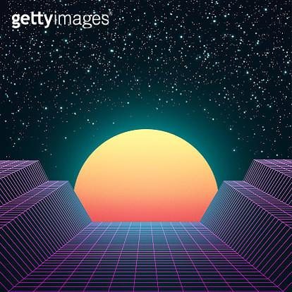 Retro 80s Space Background - gettyimageskorea