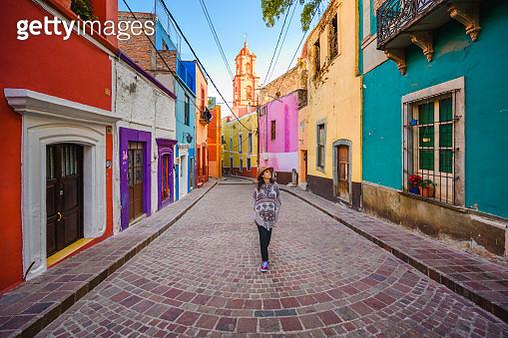 Tourist strolling around Guanajuato city's old town, Mexico - gettyimageskorea
