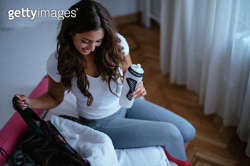 Beautiful woman preparing for gym - gettyimageskorea