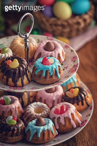 Small Easter Bunt Cakes with Icing and Sweets - gettyimageskorea