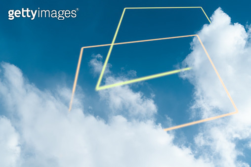 Glowing yellow rectangle around cloud - gettyimageskorea
