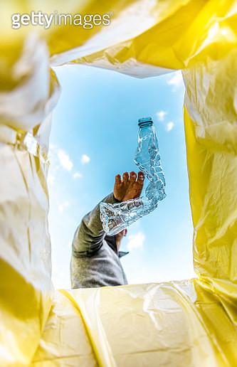 Recycling single use plastic bottle with creative view from inside the bin. - gettyimageskorea