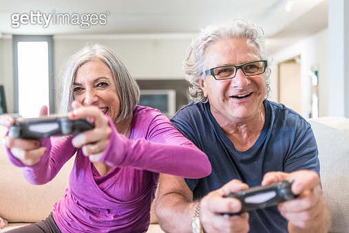 Young at heart grandparents series: Playing videogames - gettyimageskorea