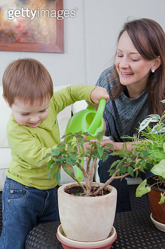 Mother and son watering plant at home - gettyimageskorea
