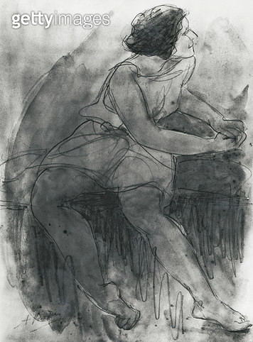 <b>Title</b> : Isadora Duncan (1878-1927) (pencil & wash on paper)<br><b>Medium</b> : pencil and wash on paper<br><b>Location</b> : Algeria<br> - gettyimageskorea