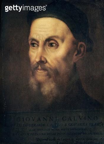 <b>Title</b> : Portrait of John Calvin (1509-64) (oil on canvas)<br><b>Medium</b> : oil on canvas<br><b>Location</b> : The Reformed Church of France, Paris, France<br> - gettyimageskorea