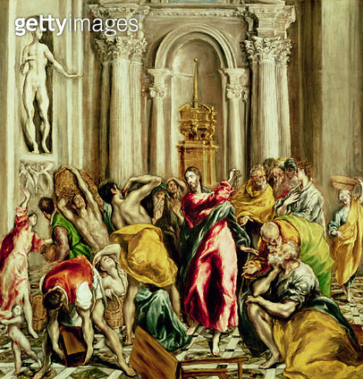 <b>Title</b> : Jesus Driving the Merchants from the Temple, 1610-14 (oil on canvas)<br><b>Medium</b> : oil on canvas<br><b>Location</b> : Church of San Gines, Madrid, Spain<br> - gettyimageskorea