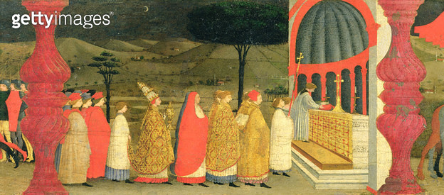 <b>Title</b> : Predella of the Profanation of the Host: The Pope Returning the Consecrated Host to the Altar, c.1468 (tempera on panel) (detail<br><b>Medium</b> : <br><b>Location</b> : Palazzo Ducale, Urbino, Italy<br> - gettyimageskorea
