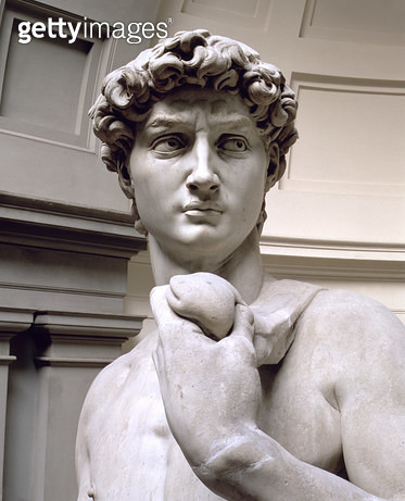 <b>Title</b> : David, head of sculpture by Michelangelo Buonarroti (1475-1564), 1501-4 (marble) (detail of 4344)<br><b>Medium</b> : <br><b>Location</b> : Galleria dell' Accademia, Florence, Italy<br> - gettyimageskorea