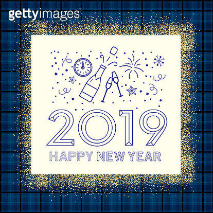 Holiday New Years Greeting Design Banner with line art icons - gettyimageskorea