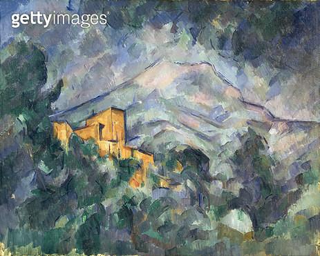<b>Title</b> : Montagne Sainte-Victoire and the Black Chateau, 1904-06 (oil on canvas)<br><b>Medium</b> : oil on canvas<br><b>Location</b> : Bridgestone Museum of Art, Tokyo, Japan<br> - gettyimageskorea