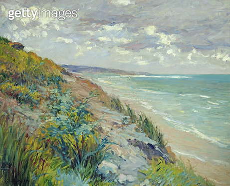 <b>Title</b> : Cliffs by the sea at Trouville (oil on canvas)<br><b>Medium</b> : oil on canvas<br><b>Location</b> : Private Collection<br> - gettyimageskorea