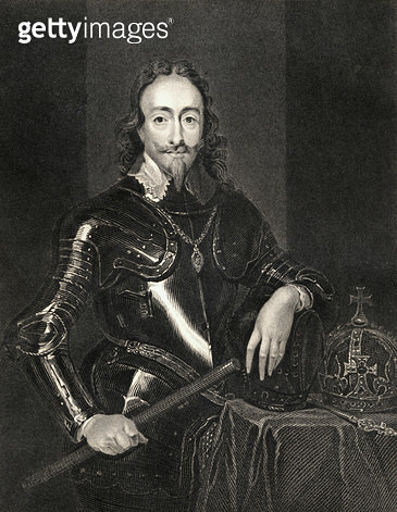 <b>Title</b> : Portrait of King Charles I (1600-49) from 'Lodge's British Portraits', 1823 (litho)<br><b>Medium</b> : <br><b>Location</b> : Private Collection<br> - gettyimageskorea