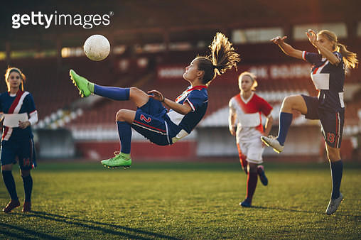 Determined bicycle kick on a soccer match! - gettyimageskorea