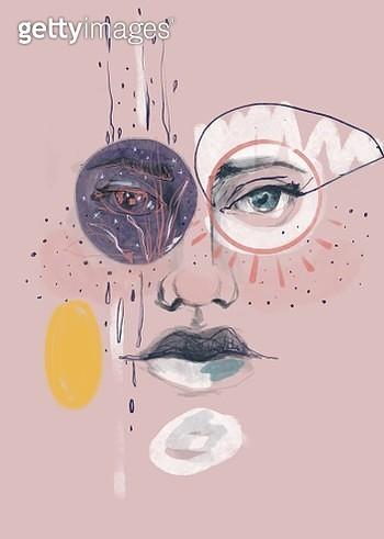 Illustration of a beautiful woman. - gettyimageskorea