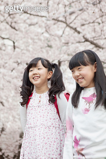 Japanese elementary school students stand a cherry tree in the back - gettyimageskorea