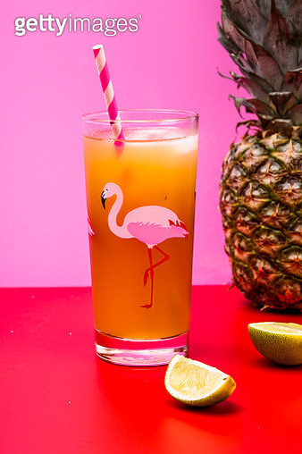 Glass of pineapple coconut icetea with lime - gettyimageskorea