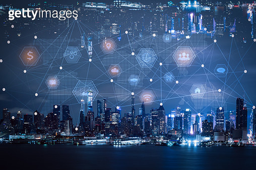 Network and technology connection concept with city background - gettyimageskorea