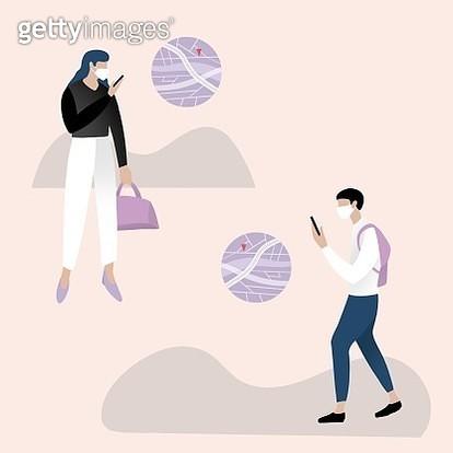 smart phone, navigation app, face mask, coronavirus, social distance, out door, working, business man, business women - gettyimageskorea