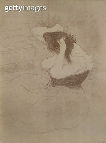 <b>Title</b> : Woman combing her hair, from 'Elles', 1896 (litho)<br><b>Medium</b> : <br><b>Location</b> : Haags Gemeentemuseum, The Hague, Netherlands<br> - gettyimageskorea