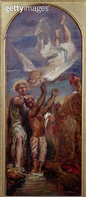 <b>Title</b> : Study for St. Philip Baptising the Eunuch of the Queen of Ethiopia (oil on canvas)<br><b>Medium</b> : oil on canvas<br><b>Location</b> : Musee de la Ville de Paris, Musee du Petit-Palais, France<br> - gettyimageskorea