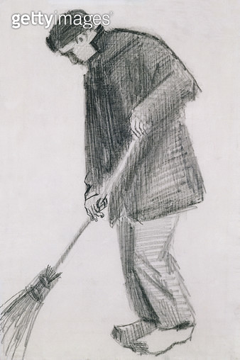 <b>Title</b> : The street cleaner (charcoal on paper)<br><b>Medium</b> : <br><b>Location</b> : Haags Gemeentemuseum, The Hague, Netherlands<br> - gettyimageskorea
