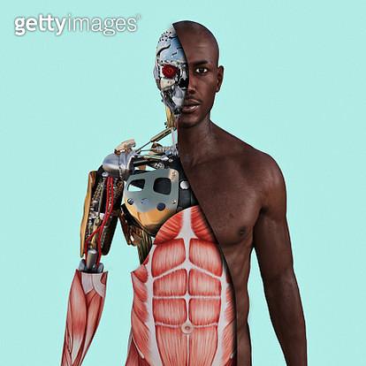 Cutaway of cyborg - gettyimageskorea
