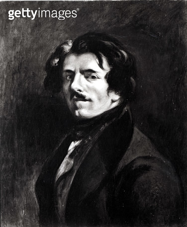<b>Title</b> : Portrait of Eugene Delacroix (1798-1863) after a self portrait of 1834, 1874 (oil on canvas) (b/w photo)<br><b>Medium</b> : oil on canvas<br><b>Location</b> : Musee Fabre, Montpellier, France<br> - gettyimageskorea